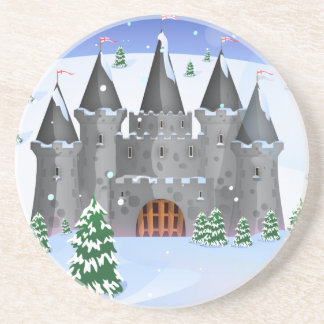 Fairytail Castle Winter Snow Drink Coaster