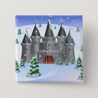 Fairytail Castle Winter Snow Pinback Button