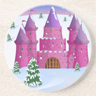 Fairytail Castle Winter Snow Sandstone Coaster