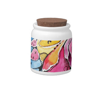 Fairytale abstract  watercolor cartoon art candy dishes