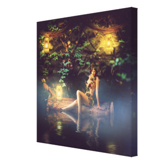 fairytale beautiful woman - wood nymph gallery wrapped canvas