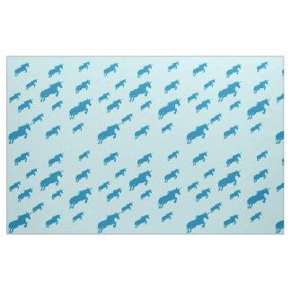 Fairytale, blue unicorns pattern light blue fabric