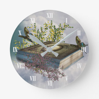 Fairytale Book Butterflies Wall Clock