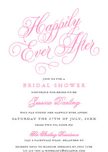 fairytale bridal shower invitations in pink gray