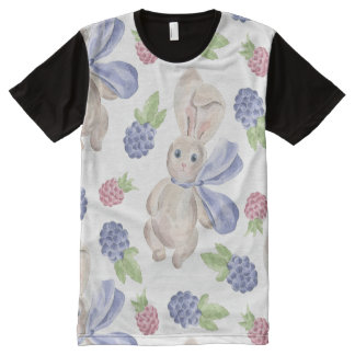 Fairytale Bunny Rabbit with Florals Pattern All-Over-Print Shirt