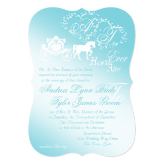 Fairytale Carriage and Hearts 5x7 Paper Invitation Card