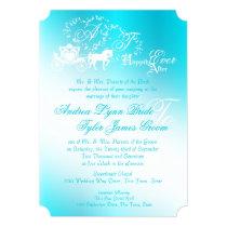 Fairytale Carriage Aqua Invitation