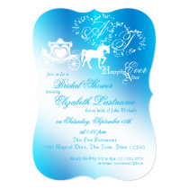 Fairytale Carriage Bridal Shower Peacock Blue Card