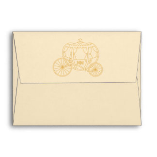 Fairytale Carriage Design in Beige and Tan Colors. Envelopes