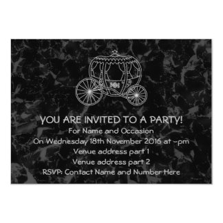 Fairytale Carriage Design in Black and Gray. 4.5x6.25 Paper Invitation Card