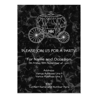 Fairytale Carriage Design in Black and Gray. 5x7 Paper Invitation Card