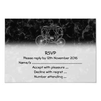 Fairytale Carriage Design in Black and Gray. 3.5x5 Paper Invitation Card
