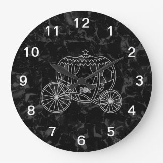 Fairytale Carriage Design in Black and Gray. Large Clock