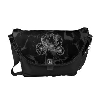 Fairytale Carriage Design in Black and Gray. Messenger Bags