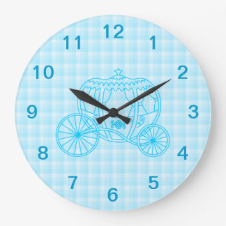 Fairytale Carriage Design in Turquoise Blue Large Clock