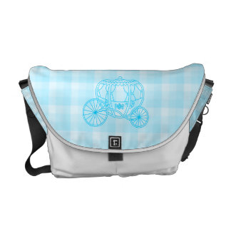 Fairytale Carriage Design in Turquoise Blue Messenger Bag