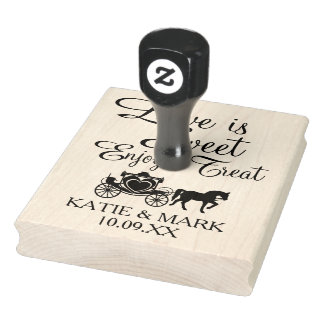 Fairytale Carriage Love is Sweet Rubber Stamp
