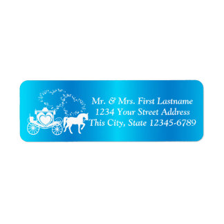 Fairytale Carriage Peacock and Hearts Return Address Label