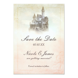 Fairytale Castle Storybook Page Save The Date Card