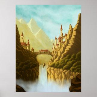 fairytale castles fantasy landscape poster