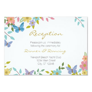 "Fairytale Floral Wedding Enclosure 5"" x 3.5"" 3.5x5 Paper Invitation Card"
