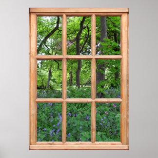 Fairytale Garden View from a Window (Premium) Poster