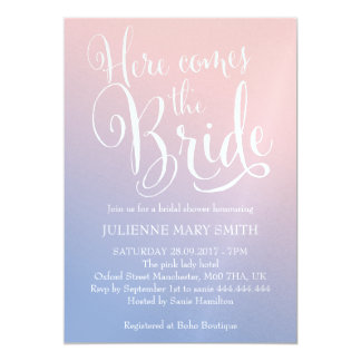 """Fairytale    """"Here comes the bride"""" Bridal Shower Card"""