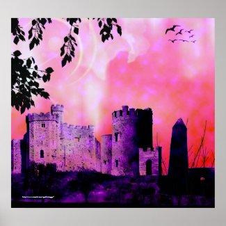 Fairytale in Pink Gothic Landscape fantasy Print print