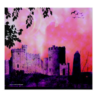 Fairytale in Pink Gothic Landscape fantasy Print