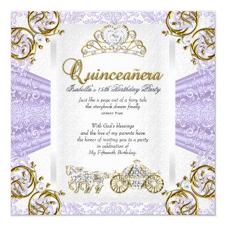 Fairytale Lavender Quinceanera 15th Birthday 2 Card