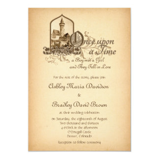 Fairytale Medieval Castle Once Upon Wedding 5x7 Paper Invitation Card