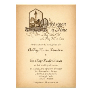 Fairytale Medieval Castle Once Upon Wedding Personalized Announcements