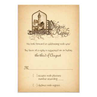 Fairytale Medieval Castle Once Upon Wedding RSVP 3.5x5 Paper Invitation Card