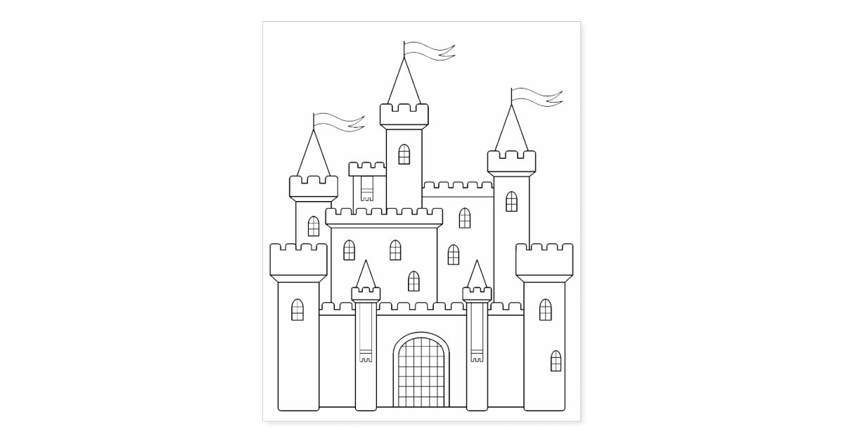 Fairytale Medieval Royal Castle Coloring Page Rubber Stamp