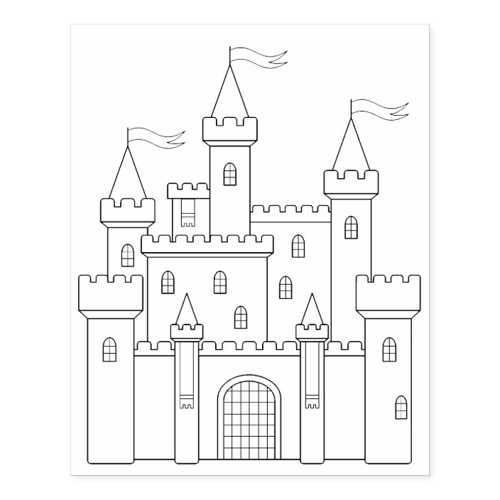 - Fairytale Medieval Royal Castle Coloring Page Rubber Stamp Zazzle.com