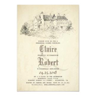Fairytale Old Castle Vintage Rehearsal Dinner Card