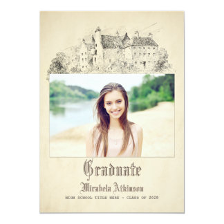 Fairytale Old Vintage Castle Graduation Party Card