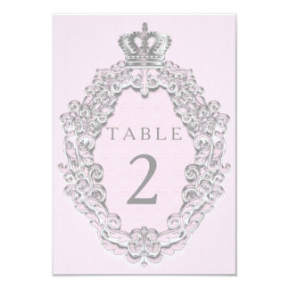 Fairytale Princess Crown Pink Table Number Card