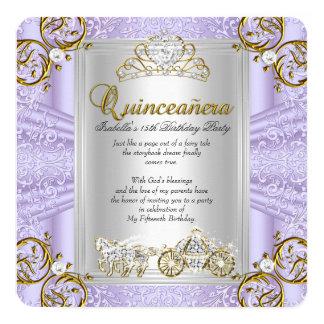 Fairytale Quinceanera 15th Birthday Lavender Card
