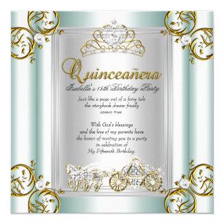 Fairytale Quinceanera 15th Birthday Mint Blue Card