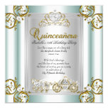 "Fairytale Quinceanera 15th Birthday Mint Blue 5.25"" Square Invitation Card"