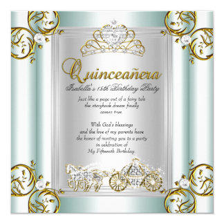 Fairytale Quinceanera 15th Birthday Mint Blue 5.25x5.25 Square Paper Invitation Card