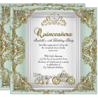 Fairytale Quinceanera 15th Birthday Mint Green Card