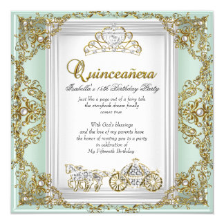Fairytale Quinceanera 15th Birthday Mint Green Card