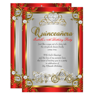 Fairytale Quinceanera 15th Birthday Red Gold Card