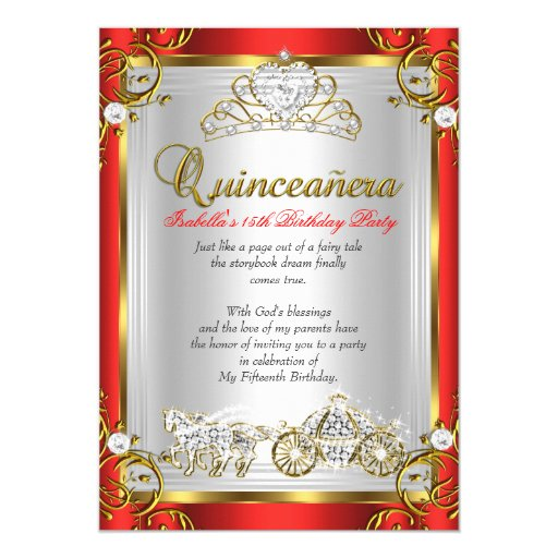 Fairytale Quinceanera 15th Birthday Red Gold Card | Zazzle