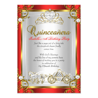 Fairytale Quinceanera 15th Birthday Red Gold 5x7 Paper Invitation Card