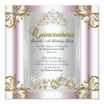 """Fairytale Quinceanera 15th Birthday Soft Pink 5.25"""" Square Invitation Card"""