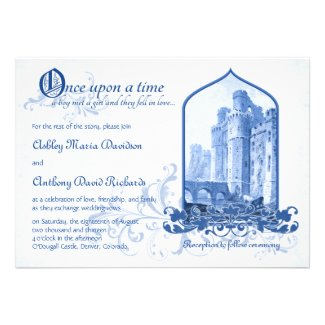 Fairytale Royal Blue Castle Once Upon Wedding Invitations