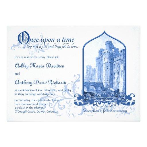 Fairytale Royal Blue Castle Once Upon Wedding Invitations